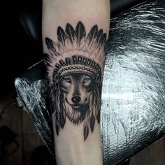Wolf headdress tattoo by John McKee at Twisted Image Tattoo Native American Tattoos, Native Tattoos, Native American Headdress, Indian Headdress Tattoo, Wolf Headdress, Tattoo Indian, Forarm Tattoos, Wolf Tattoos, Sleeve Tattoos