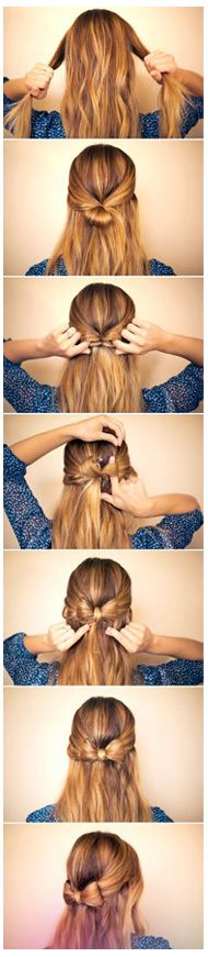 Cute little bow hairdo TUTORIAL (What's going on in step 4?  That's why these things don't work for me.)  Cute though.