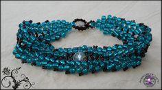 Scalloped Herringbone Beaded Bracelet Blue Glass by JewelryOfLife, $15.00