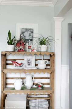 DIY Shelf with scallop trim - Our Rustic Cottage Christmas Tour 2015