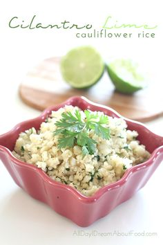 """<p>This tangy cilantro lime rice is a healthy, low carb version of Chipotle's classic rice!</p> <p><a href=""""http://alldayidreamaboutfood.com/2014/06/low-carb-cilantro-lime-cauliflower-rice.html"""" target=""""_blank"""">Get the recipe!</a></p>"""