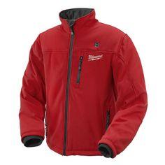 Milwaukee, Medium Lithium-Ion Cordless Red Heated Jacket Kit, at The Home Depot - Mobile Milwaukee M12, Milwaukee Tools, Heated Clothing, Heated Jacket, Cordless Tools, Bob Vila, Adidas Jacket, Motorcycle Jacket, Gadgets