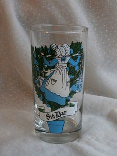 Eight Maids a Milking, 8th Day of Christmas Glass Tumbler 5 inches tall