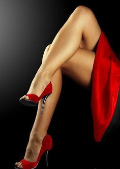 """spot-star: """"There is something about a women in a dress/skirt and heels crossing her legs that just does something to me… """" Sexy Red! Sexy Legs And Heels, Hot Heels, Sexy High Heels, Nylons Heels, Black Pantyhose, Great Legs, Nice Legs, Beautiful Legs, Beautiful Women"""