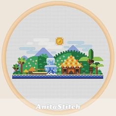 Tropical landscape  Cross stitch pattern by AnitaStitch on Etsy
