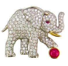 Oscar Heyman & Brothers Diamond & Ruby Elephant Brooch