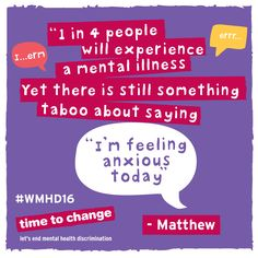 """""""Anxiety disorders and mental illnesses feed on shame, stigma and guilt and they want you to keep them secret. This blog is my own shouting out in the face of all that nonsense."""" Read Matty's blog #WMHD16 #worldmentalhealthday"""
