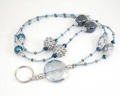 Bold Blue and Grey Beaded ID Badge Holder, ID Lanyard, Glasses Holder