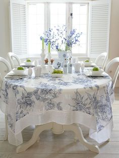 Something like this used as a topper with a navy blue or white tablecloth underneath that s to the floor Linen Tablecloth - Blue Vintage Rose from Nordic House Linen Tablecloth, Table Linens, Tablecloths, Tablecloth Ideas, Home Interior, Interior Design, Deco Rose, Deco Table, Decoration Table