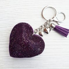 Sparkly Heart Keyring Navy Tassel /& rhinestones Sparkly bling bag charm