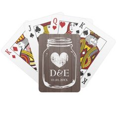 Vintage mason jar playing cards wedding favor