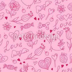 Froher Valentinsgruß Designmuster by Natalia Patrashchuk at patterndesigns.com Vektor Muster, Red Pattern, Pattern Illustration, Surface Design, Valentines Day, Patterns, Pink, Art, Valentine's Day Diy