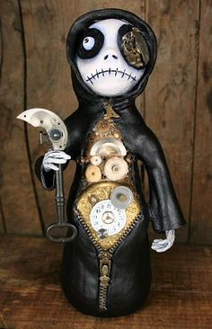 Art: Steampunk Inspired Time Keeper Grim Reaper by Artist Michele Lynch  Wishlist