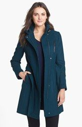 Cole Haan Leather Trim Wool Blend Military Coat
