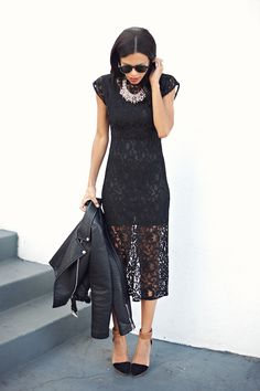 ladies night | http://www.grasiemercedes.com/style-me-wears/ladies-night-2/ lace black dress + statement necklace