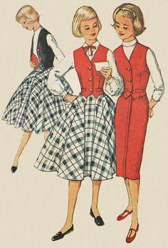 1958 Teen Girls Skirt & Sleeveless Weskit door KinfolkWearableArt