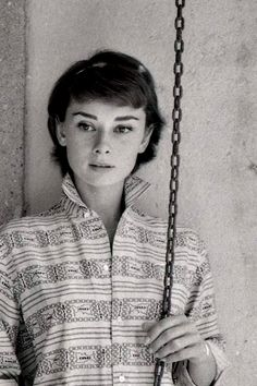 """Audrey Hepburn photograped by Milton H. Greene at her Villa (outside Rome) especially for the American magazine """"Look"""", during a break in the filming of """"War and Peace"""", on August 08, 1955."""