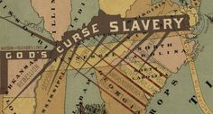 """Southern detail, """"God's Blessing Liberty, God's Curse Slavery,"""" by John F. Smith, map produced for Congress in 1888. """"The limbs of the dark, crooked tree of slavery read: 'Murder, War, Rebellion, Treason, Secession, Sedition, Superstition, Ignorance, Avarice, Lus'"""" and of course 'Hades,' ... on the spikes of the Missouri Compromise, the Compromise of 1850, Fugitive Slave Laws, Kansas-Nebraska Act, Dred Scott."""" Caption from link"""