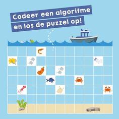 Red de oceaan met algoritmes Computational Thinking, Coding For Kids, Activities For Kids, Map, School, Middle, Children Activities, Location Map, Kid Activities