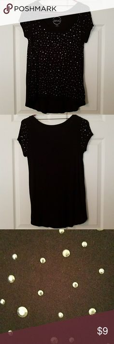 INC Embellished T-shirt Black T-shirt with silver rhinestone embellishments.  Size M INC International Concepts Tops Tees - Short Sleeve