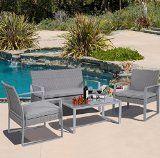 4 PC Outdoor Patio Furniture Set Cushioned Wicker Rattan Garden Lawn Sofa Seat - http://howtomakeastorageshed.com/articles/4-pc-outdoor-patio-furniture-set-cushioned-wicker-rattan-garden-lawn-sofa-seat/