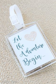 This DIY Luggage Tag is such a cute idea for a wedding guest favor or perfect for the hotel guest room gift bags!