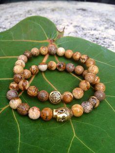 Eternal Knot Buddha Bracelet Set - 2 Bracelets Jasper on Etsy, $40.00
