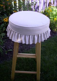 Getting these for my kitchen! Finally doing something with the old stools that have been in my garage for 10 years! Barstool Slipcover and Cushion Linen Ruffled Skirt 12 inch bar stool cover