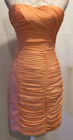 H&M Coral Orange Ruched Bodycon Homecoming Prom Fitted Mini Dress Size 6 NEW…
