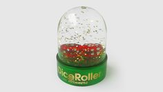dice roller in a snow globe