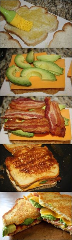 Bacon Avocado Grilled Cheese on sour dough bread, yum! Hmmm maybe with Turkey bacon and ww grilled cheese? Looks yummy Grilled Cheese Avocado, Bacon Avocado, Grilled Cheese Recipes, Fresh Avocado, Best Grilled Cheese, Think Food, I Love Food, Good Food, Yummy Food