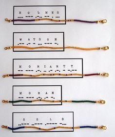 Morse code names bracelets https://www.etsy.com/de/listing/189899727/sherlock-holmes-names-morse-code