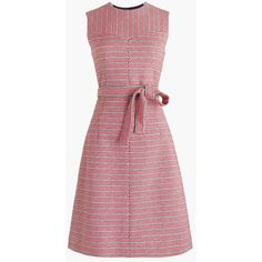 J.Crew Tie-Waist Dress (12.710 RUB) ❤ liked on Polyvore featuring dresses, above the knee dress, tweed dress, braid dress, stripe dresses and lined dress