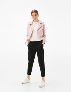 Tailored pleated front joggers - Pants - Bershka United States