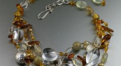 Amber Citrine Crystal Quartz Beaded Gemstone Necklace