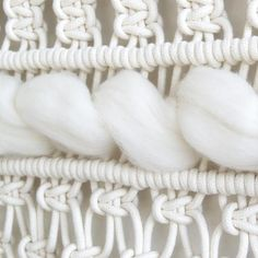 ● D E S C R I P T I O N  Add some modern softness to your room with this gorgeous macrame wall hanging! This wall hanging is made with 100% high quality twisted cotton cord and 100% pure and soft ivory merino wool and is hanging on a oak wood dowel. The cotton cords are exclusively produced for Teddy and Wool in The Netherlands.    ● D I M E N S I O N S This macrame wall hanging measures:  Dowel length: 120 cm ( 47.5 inches ) Macrame height: about 100 cm ( 39.5 inches )  ● M A T E R I A L S…