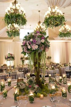 love the moss and the sunken middle table Reception Decorations, Event Decor, Wedding Centerpieces, Wedding Table, Enchanted Forest Theme, Enchanted Garden Wedding, Floral Wedding, Wedding Flowers, Floral Chandelier
