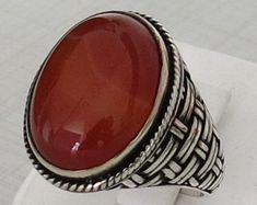 Handmade Authentic Natural Red Agate 925 Sterling Silver Men's Ring D74