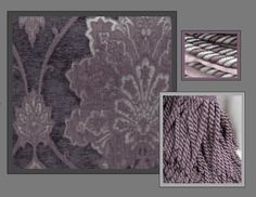Montplume Chateau Bedding and Drapery Collection. Victorian smokey plum damask with several options of taupe velvet, silk, and purple/ lavender/ taupe European trimmings.