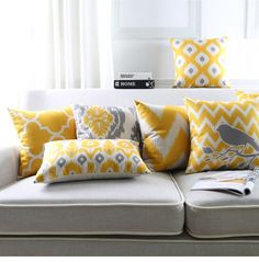 Cheap cushion cover, Buy Quality cotton cushion cover directly from China cushion cover yellow Suppliers: Nordic Style Abstract Geometric Printed Linen Cotton Cushion Cover Yellow Lines Decorative Sofa Throw Pillow Case Almofadas Sofa Pillow Covers, Sofa Throw Pillows, Cushions On Sofa, Decorative Throw Pillows, Accent Pillows, Yellow And Grey Cushions, Living Room Decor, Nordic Style, Decor Pillows