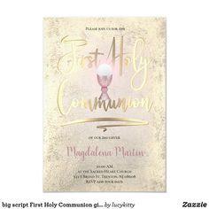 big script First Holy Communion girl Invitation