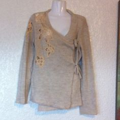 """ANTHROPOLOGIE """"Moth"""" Lace/Crochet Inset Cardigan Crossover design. Oatmeal. Ties inside and out. Long sleeves. Wool, acrylic, linen blend. Hand wash or dry clean Anthropologie Sweaters Cardigans"""