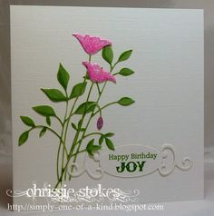 Simply One Of A Kind: Pretty in pink made by Chrissie for a friend's wife. The Prim Poppies and Fresh Foliage are from Memory Box and the tag is from Spellbinders with a computer generated message. Birthday Cards For Women, Handmade Birthday Cards, Greeting Cards Handmade, Memory Box Cards, Memory Box Dies, Pretty Cards, Cute Cards, Card Making Inspiration, Making Ideas