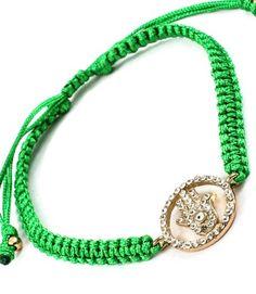 Accessory Accomplice Goldtone Crystal Hamsa Charm Green Adjustable Macrame Bracelet Accessory Accomplice http://www.amazon.com/dp/B00DXNU1DM/ref=cm_sw_r_pi_dp_B959tb0X4VQER
