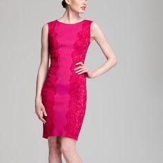 "Pink lace trim bodycon dress Tadashi Shoji Pink cocktail dress with lace trim detail. Rayon/nylon/spandex/cotton/poly. Size XL. Measurements laid flat: bust 19.5""/ waist 17""/ length 41"". Excellent condition. Tadashi Shoji Dresses Mini"