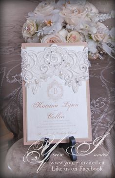 Beautiful Lace inspired invitations by You're Invited. http://www.weddingshows.com