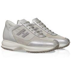 82e018dc2f Hogan Interactive women's sneakers in silver leather - Italian Boutique €193