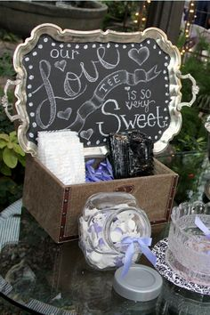 Chalkboard tray for candy buffet display by @Bekzilla