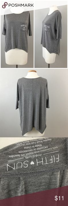 Firth Sun Nama Stay In Bed Oversize Grey Top Firth Sun Nama Stay In Bed Oversize Grey Top. Size medium, could fit a large as well. Thank you for looking at my listing. Please feel free to comment with any questions (no trades/modeling).  •Condition: very good, no visible flaws:   ✨Bundle and save!✨10% off 2 items, 20% off 3 items & 30% off 5+ items! KA Fifth Sun Tops Tees - Short Sleeve