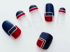 Nail art Christmas - the festive spirit on the nails. Over 70 creative ideas and tutorials - My Nails Navy Nails, Red Nails, White Nails, White Glitter, Red Nail Designs, Pedicure Designs, Art Designs, Marine Nails, Geometric Nail